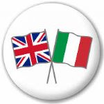 Great Britain and Italy Friendship Flag 25mm Pin Button Badge